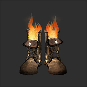 Smoking Boots Logo - An illustration of flames eminating from a pair of old leather boots